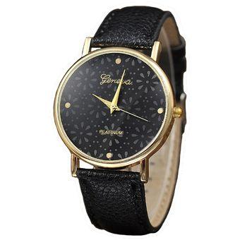 Reloj Geneva Relieve Flores - Negro