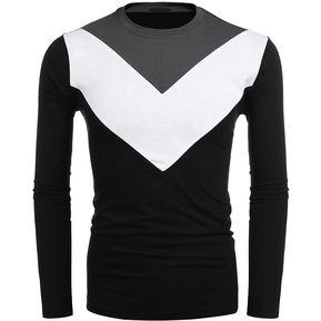 e404ada43f0fa Modaling Camisetas casuales de Color de contraste para hombre-negro