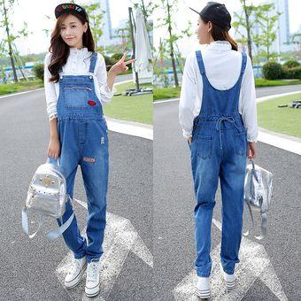 017ecb0b3 Pantalones Vaqueros De Tirantes Jeans De Mujer Embarazada De Moda -Azul  Claro