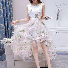 456b20289 Vestido Casual Generico Encaje Sin Mangas Organza - Rosa Floral