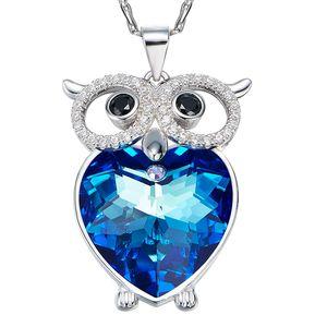 11498ecde0cc Záffira - Collar Búho Corazón - Plateado Y Azul