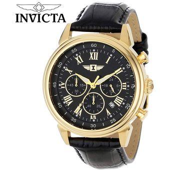 4d01ddb5a8a3 Agotado Reloj Invicta 90242 Cronometro Acero Inoxidable Correa de Cuero –  Negro Dorado