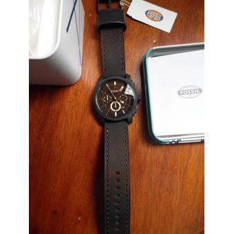 estilo exquisito Super baratas linda Reloj Fossil Machine FS4656 Cronometro Acero Inox. Correa De Cuero - Marrón  Negro