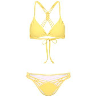 Baja Rellenoamarillo Cintura Bikini De Con Mujer MUpSzV