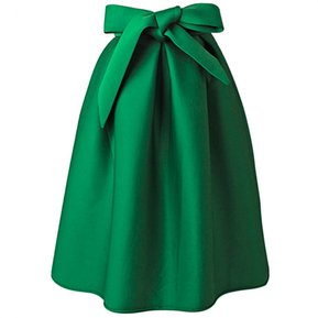09f49974ee Falda Pure Color A-Line-Verde
