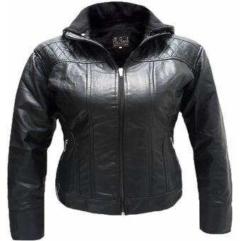 Compra Chaqueta Mujer Cuero Sintetico Abrigos Epsilon Negro Joar ... 48775dea74c