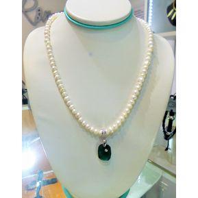 f880af2a2491 Fernanda Romero - Collar Perlas De Rio Swarovski Y Broche De Plata 950