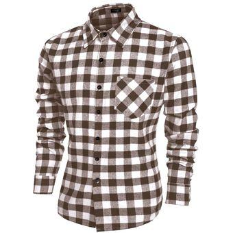 COOFANDY Moda Camisa De Cuadros Casual Manga Larga Solapa Estore Para Hombre -Café fb7865e36fb60