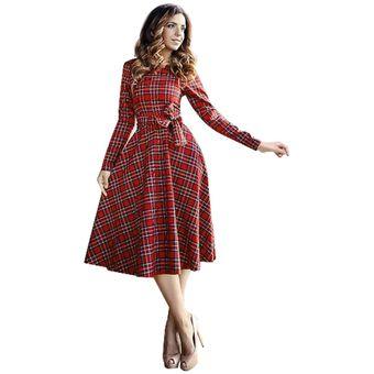 Vestido mujer rojo manga larga