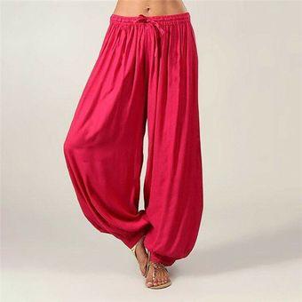 Pantalones Harem Mujer Algodon Holgado Yoga Afghanian Genie Indio Aladino Pantal Rose Rojo Linio Peru Ge006sp17sb4elpe