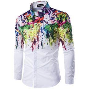 d1be1f702c tinta splash pintura color autocultivo manga larga casul Camisa hombre