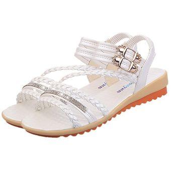 ddee975a2a7 Moda Mujer Verano sandalias al tobillo elásticos suela suave zapatos planos  Blanco