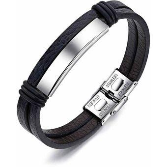 315de068149d pulsera manilla en cuero placa en color plata en acero inoxidable pulido  doble pulsera de cuero y brazalete para las mujeres hombres negro pulsera  de ...