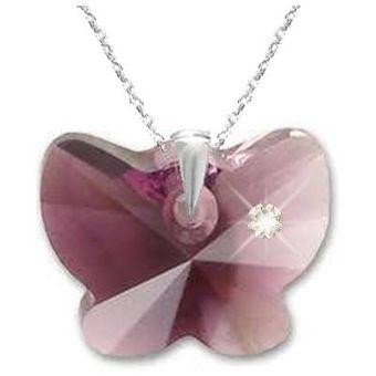 43d761b877e8 Fernanda Romero - Collar Mujer Con Dije Mariposa Amatista Blend - Lila  Crystals From Swarovski