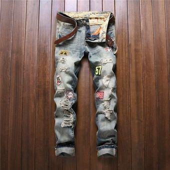 Pantalones De Mezclilla Para Hombre Moda Masculina Botones De Parche De Color Delgado Pantalones Rectos Mosca Azul Linio Mexico Oe599fa1cc6s7lmx