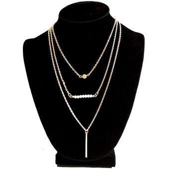 756a80fd00c9 Compra Collar Harmonie Tres Cadenas Con Tres Dijes - Dorado online ...