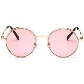 4e26853b3c Estilo Punk Mujer gafas de sol con marco de metal señoras femenina forma  redonda Rosa