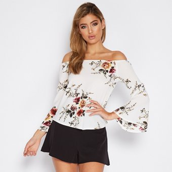 23be8b90d Sexy Slash Neck Shirt Top Mujer Blusa Loose Manga Flare Flores Impresiones - Blanco