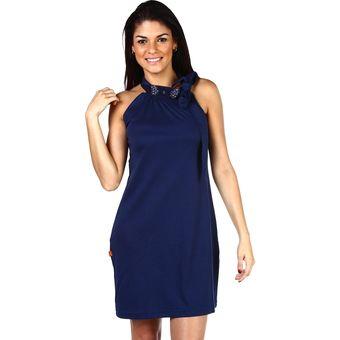 Twelve - Vestido con aplicaciones en el cuello y con tira para amarrar- azul 5cfb749aaa1e