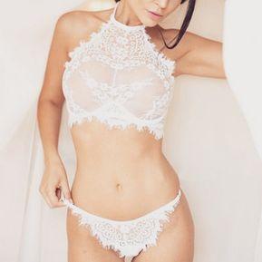 64e29ff4d1 lencería encaje sexy bordado sin costura bralet transparante blanco