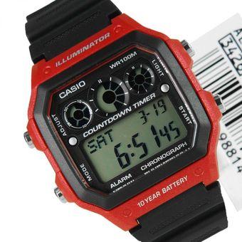 f0cad2d72dcd Reloj Casio Hombre Deportivo Modelo Ae-1300wh-1avcf Iluminador Digital  Temporizador -Negro Con
