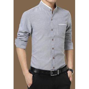 7a591a1060 Camisas Hombre De Manga Larga De Negocios De Cuello De Pie De No Plancha - gris