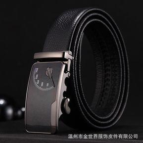 Correa de los hombres de moda de cuero Jeans cinturón-110CM-Negro 241684df2716