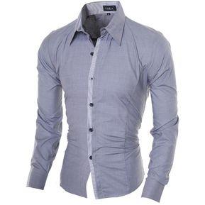 e60943c7bc Contraste De Los Hombres De Cierre Colores Delgado De La Manga Larga Apta  Ocasional Camisa (