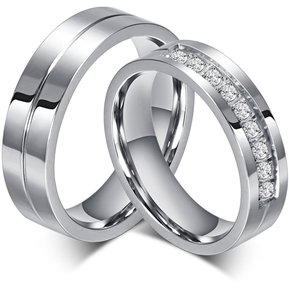 0c25d1445844 Anillo de diamantes par de acero de titanio de San Valentín de compromiso  para hombres-