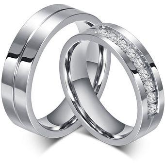 c9548e1f32a1 Anillo De Diamantes Par De Acero De Titanio De San Valentín De Compromiso Para  Hombres-