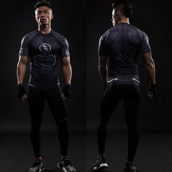 78760fbb9fc86 Agotado ZOOM 3D Camisetas Impresas Camisa De Los Hombres De Compresión En Seco  Raglan Manga Corta Flash