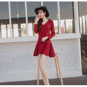 e0d0028b4 V vestido sin espalda de cuello Generic Mujer-Rojo