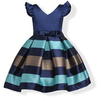 Vestido Niñas Rayas Bowknot Azul