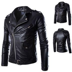 d6773a1385 Nueva locomotora delgada chaqueta de cuero de los hombres de la moda  británica-negro