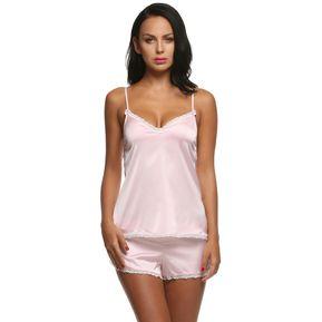 5fe2b45bb0 Ekouaer Pijama De Punto Satén Conjunto De Tops Y Pantalones Cortos Para  Mujer - Rosado