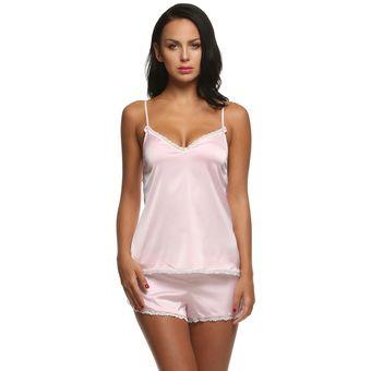 109c18c407 Ekouaer Pijama De Punto Satén Conjunto De Tops Y Pantalones Cortos Para  Mujer - Rosado