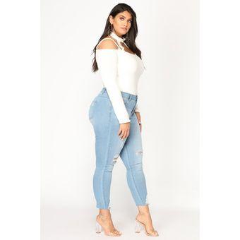 Compra Moda Jeans Mujer Talla Extra Ajustados Pantalón De Mezclilla ... e52b9bcc2b0d