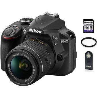 d324657a49 Agotado Camara Reflex Nikon D3400 Lente 18-55mm + 16gb Sd + Control +  Filtro Uv