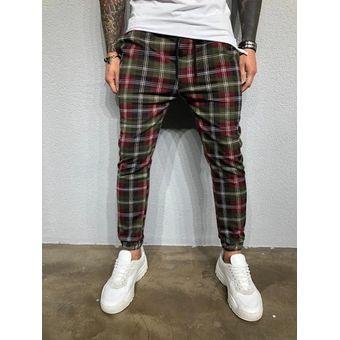 Pantalones De Chandal De Moda Informales Con Estampado Digital 3d A Cuadros Para Hombre Green Linio Peru Un055fa1ic4dxlpe