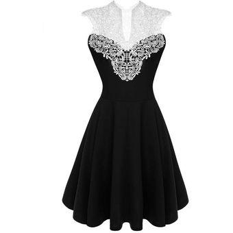 1b5c07f3f Vestido Encaje Elegante Fiesta Sin Mangas Casual Ropa Para Dama Mujer -  Negro