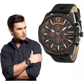 Reloj Correa De Cuero Hombre CURREN Reloj Negocio Cuarzo (Negro Naranja) 04789d877162