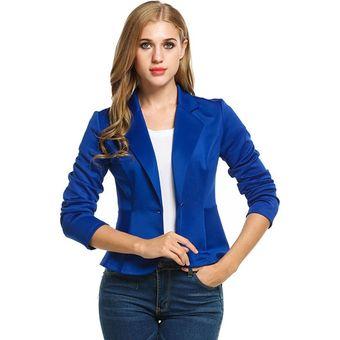 9719df616 Compra Chaqueta Blazer Manga Larga Casual para Mujer - Azul oscuro ...