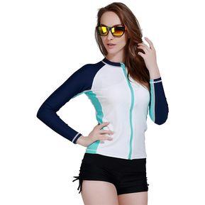 6c7783c922b6f Traje De Ba o Ba ador Mujer Camiseta Manga Larga Surf Spearfishing Swimwear  Blanco
