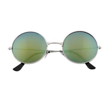 7484ae5914 Las Mujeres Los Hombres Coloridos Lentes De Espejo Redondo Unisex Gafas  Gafas De Sol Vintage Golden