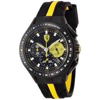 473ebd8169ca Reloj Ferrari 0830025 Acero Inoxidable Recubierto De Carbono Correa De  Silicona - Negro y Amarillo