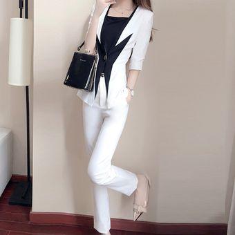 0d0db8501fc7 Traje de 2 piezas de oficina para mujeres chaqueta con pantalón - Blanco
