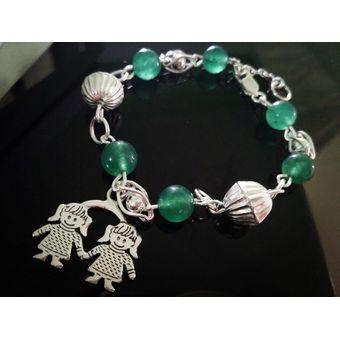 b955989bf3cb MatixShop - Pulsera Plata 950 Piedra Natural Jade + Dije De Plata - REGALOS