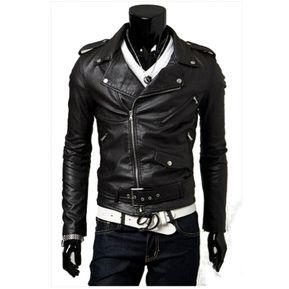 Moda Slim Chaquetas Mens Trench coat chaqueta de cuero hombre moto Negro 13883449b06