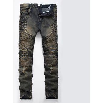 1d8f89d6b 12 Hombres De Largo Motocicleta De Robin Jeans Moda Slim Pantalones Hombre  Agujero Sueltos Pantalones Casual Classic-gris