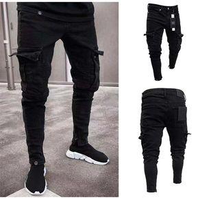f7a1c6c463264 Vaqueros negros ajustados de hombres Slim Fit con bolsillo lateral Moto